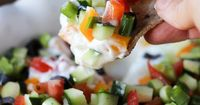 Loaded Veggie Dip - so delicious you won't even realize it is good for you! #loaded #veggie #dip
