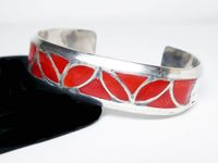 Sterling Silver Cuff Bracelet - Inlaid Red Carnelian - Southwestern Silversmithing - Artisan Signed with 4 Mountain Marks - Vintage 1960s $115.00