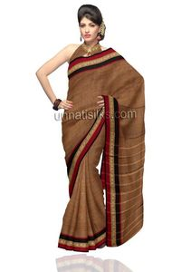 The saree is beautified with self color woven decorative motifs all over and cream strips ethnic patterns over the pallu heightened the look. The cream peacock thread woven border along with maroon,black plain borders and accompanied matching blouse adds...
