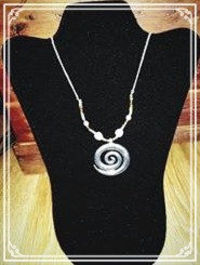 Silver and White Beaded Necklace with Silver Swirl Boho Chic Pendant $10.00