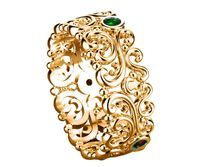 Filigree Wedding band Leaf ring Victorian Ring Gold Floral Band 3 Emerald Top Quality Milgrain Ring 7mm Flower Band Eternity Ring $950.00