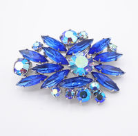 Blue AB's & Blue Rhinestone Brooch Sapphire Blue Navettes and Aurora Borealis Chatons Pin with Fan Design Vintage 1950s 1960s Mid Century $48.00