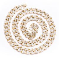 Gold Finish 2 Row CZ Cuban Link Chain Necklace £77.22