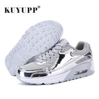 KUYUPP Cushioning Women Casual Shoes Lace Up Breathable Mesh Wedge Shoes Woman 2017 New Low Top Air Mesh Women Shoes Black S215