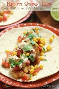 Popcorn Shrimp Tacos with Corn Salsa and Cilantro Lime Sauce ~ Crunchy Popcorn Shrimp Loaded with Corn and Tomato Salsa and Drizzled with Cilantro Lime Sauce!