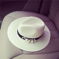 Flower Beads Wide Brimmed Hat for women's $21.10