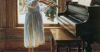 Steve Hanks art paintings ~ Can't imagine Where music would be without the piano and the violin! <3