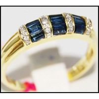 Diamond 14K Yellow Gold Eternity Gemstone Blue Sapphire Ring [RR034]