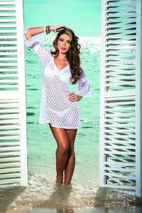 Mapale White Retro Style Deep V Neck Banded Beach Dress Cover-Up $52.95