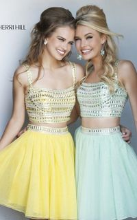 Sherri Hill 11060 Yellow Short Prom Dress