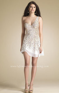White Beaded Chiffon Homecoming Dresses by Dave and Johnny 7744