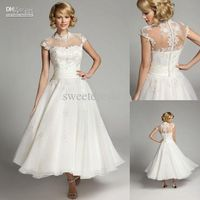 Wholesale 2013 Sweet white a-line tea length closed back lace applique jewel short sleeves wedding dresses bride dress HK127, Free shipping, $144.32/Piece | DHgate