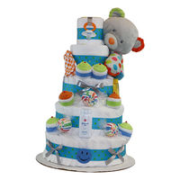 Carmel Dots Bear 5-Tiers Diapercake   Baby pacifier  Baby socks  Baby washcloths  Johnson's baby wash  Johnson's baby powder  70-75 premium Pampers Swaddlers, size 1 (up to 14lbs.)  Ribbon may be vary based on availability. ...
