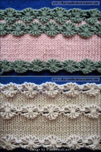 """ #Knitting Tutorial for Flowers in a Row #Knitting Stitch. This is much easier than it looks. Pattern: Cast on multiple of 6 sts + 1. Row 1: Knit Row 2: Knit 1, * (knit the next stitch wrapping the yarn 3 times around the needle) 5 times, Kni..."