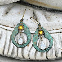 Verdigris Chandelier Earrings - Bohemian, Vintage Jewel, Silk Road, Sunflower Yellow, Hippie Earrings