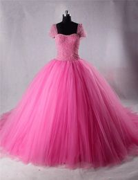 Ball Gown Cap Sleeve Hot Pink Tulle Beaded Puffy Prom Dress Detachable Bow