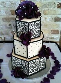 Black and white with purple wedding cake #goth wedding ... Wedding ideas for brides & bridesmaids, grooms & groomsmen, parents & planners ... https://itunes.apple.com/us/app/the-gold-wedding-planner/id498112599?ls=1=8 �€� plus how to org...