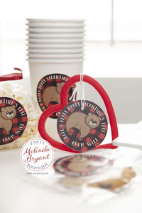 Personalized Valentine Gift Tags for Children Woodland Bear Themed / Red and Black Buffalo Check Birthday Favors / Lumberjack First Birthday $14.24