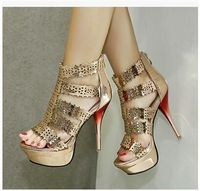 Cheap Price hot Selling European laser - carving hollow out open Toe Thin and High Heels Sandals