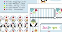 Holiday Labels set with Penguins by HelloCuteness.com FREE printable label templates from World Label