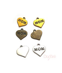 CLEARANCE Pack of 15 Mom Heart Charms. Different Colours. 13mm x 15mm Pendants £6.99