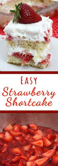 This easy strawberry shortcake recipe is a must have during the summer months. A fluffy cake layered with strawberry syrup and topped with whipped cream!