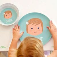 personalized childrens plate | girl face, melamine $25
