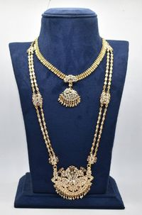 beautiful one gram gold cubic zirconium 24 ct gold plated southindian nan pathkam necklaces combo $150.00