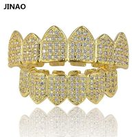 JINAO Hip Hop Teeth Grillz Pure Gold Color Plated Micro Pave CZ Stones Top & Bottom GRILLZ Mouth Teeth Grills Sets Ship From US $89.98