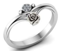 Birthday Gift Unique Flower and Sun Engagement Ring White Gold Flower Ring Promise Ring Floral ring Birthday Gift For Her $499.00