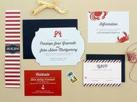 Die Cut Nautical Wedding Invitation, lobster wedding invite. New England wedding