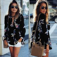 Fashion Women Fall Casual Floral Print Hollow Out V neck Long Sleeve Flower Chiffon Shirt Sunscreen Blouse Top for Autumn Winter $39.95