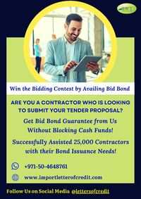 Have a look at this infographic to know how Bid Bonds helps contractors and suppliers to win the bidding process. Honor the terms of the bid by availing Bid Bond Guarantee from us & get pre-qualified to enter into the bidding contest. No need to block...
