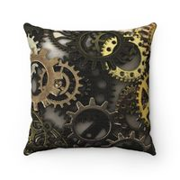 Steampunk Gears Polyester Square Pillow $21.85