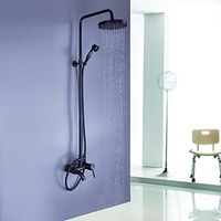 Oil-rubbed Bronze Wall Mount Waterfall Rain & Handheld Shower Faucet