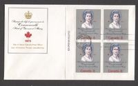 "Canada #620i (SG#759a) 8c Multicoloured Queen Elizabeth II 1973 Royal Visit Issue ""HB"" Paper LL Plate Block of 4 on FDC SUP-97 $24.49"