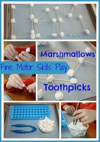 Fine motor activities can be simple and fun like snowflake making with toothpicks marshmallows. What else can you make? Letters and shapes are also great fine m