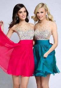 Glittering Short High Neck Cheap Homecoming Dresses 2014