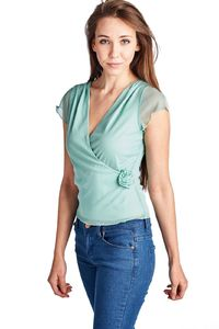 Women's Flutter Sleeve Wrap Top $22.00