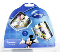 Price: £13.00 https://tinyurl.com/yxgaxx8f  USB digital mini speakers suitable for PC, Laptops, MP3 and MP4 Players Made from aluminium casing and have the cartoon comic strip images of Mickey Mouse wrapped around.