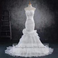 Beaded White Pleated Wedding Mermaid Prom Dresses
