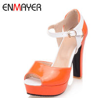 ENMAYER New High Heels Fashion Peep Toe Buckle Strap Shoes Woman Size 34-43 Orange Summer Sandals Shoes Platform Pumps Shoes $45.14