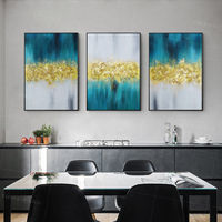 Gold Leaf Framed painting set of 3 wall art abstract blue black Large Wall Art original Paintings on Canvas 3 piece wall art heavy texture $198.00