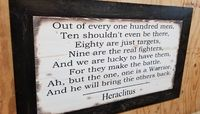 """Wooden Rustic Sign with Heraclitus Quote, """"Out of every one hundred men..."""" $85.00"""