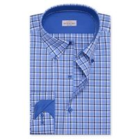 Create a stylish look with this Oxford Men blue and white Check shirt. Woven in Egyptian cotton & polyster. this check shirt has a fine finish.