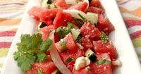 Watermelon, cucumber, and feta cheese are a surprising yet delicious combination of ingredients that make a nice starter salad or light main course.