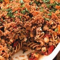 If you like eggplant and chickpeas, give this vegetarian baked-pasta dish a try! #mediterranean #mediterraneandiet