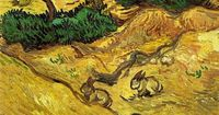 """Field with Two Rabbits"" by Vincent van Gogh - Painted in December 1889 while in the Saint-Rémy Asylum - Current location: Van Gogh Museum, Amsterdam, Netherlands ...............#GT"