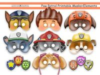 Unique PAW Patrol Printable Masks,party masks,birthday,decoration,invitation,Ryder,Chase,Skye,Rocky,Zuma,Rubble,costume,photo props,Disney на Etsy, $9.75