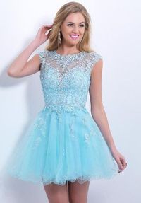 Short Blue Lace Homecoming Dress 2014